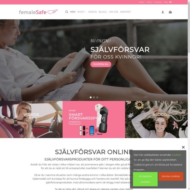 Webbutik för femaSafe skapad av webbohem