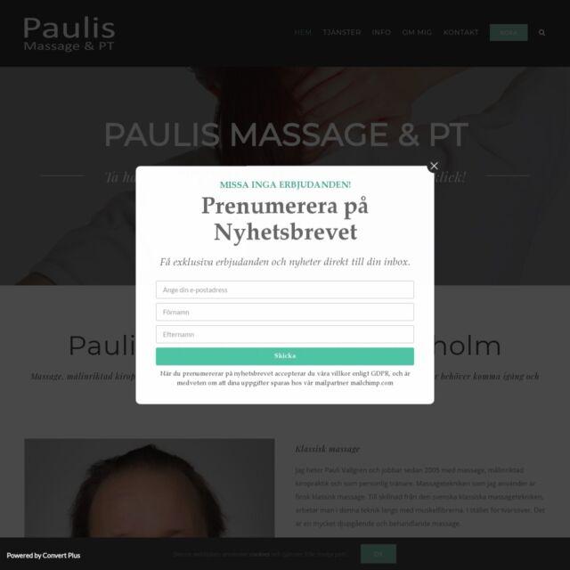 Hemsida för Paulis Massage