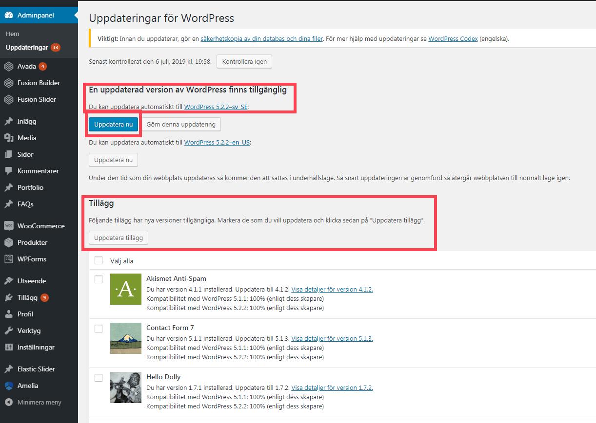 Uppgradera wordpress och plugins